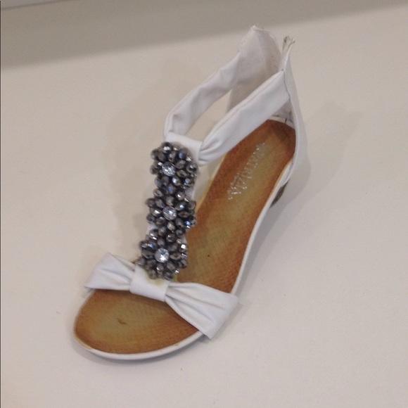 d91749bf429 Patrizia White Crystal Beaded T Strap Wedge Sandal